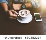man drinking coffee latte art... | Shutterstock . vector #680382214