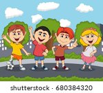 children playing on the street... | Shutterstock . vector #680384320