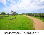 rural landscape house blue sky | Shutterstock . vector #680385214