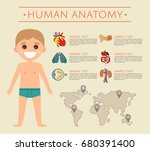 human body anatomy poster with... | Shutterstock .eps vector #680391400