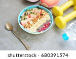 smoothie bowl with chia seeds ... | Shutterstock . vector #680391574