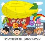 children ride a zeppelin and... | Shutterstock . vector #680392930