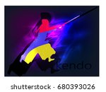 kendo silhouette with the flag... | Shutterstock .eps vector #680393026