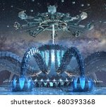 3d rendering of organic alien... | Shutterstock . vector #680393368
