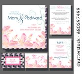 set of wedding cards or... | Shutterstock .eps vector #680397499