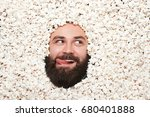 face of bearded fellow with... | Shutterstock . vector #680401888