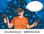 man wearing virtual reality... | Shutterstock .eps vector #680402260