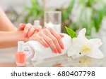 manicure concept. hand care at... | Shutterstock . vector #680407798
