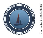 a blue nautical badge with a... | Shutterstock .eps vector #680408509