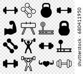 bodybuilding icons set. set of... | Shutterstock .eps vector #680411950