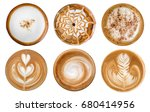 top view of hot coffee... | Shutterstock . vector #680414956