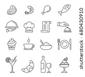 restaurant icons  thin... | Shutterstock .eps vector #680430910