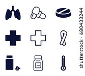 illness icons set. set of 9... | Shutterstock .eps vector #680433244