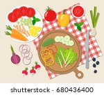 cooking salad. vegetables on... | Shutterstock .eps vector #680436400
