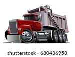 vector cartoon dump truck.... | Shutterstock .eps vector #680436958