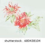 leaves  flowers  watercolor ... | Shutterstock . vector #680438104