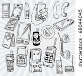 doodled mobile phones and other ... | Shutterstock .eps vector #68044045
