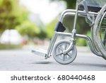 empty wheelchair parked in... | Shutterstock . vector #680440468