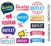 outlet. badge  icon  logo set.... | Shutterstock .eps vector #680441224
