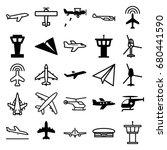 aviation icons set. set of 25... | Shutterstock .eps vector #680441590