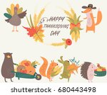 thanksgiving poster with cute... | Shutterstock .eps vector #680443498