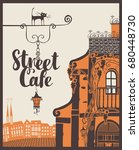 vector banner for street cafe... | Shutterstock .eps vector #680448730