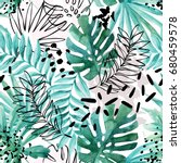 abstract exotic leaves seamless ...   Shutterstock . vector #680459578