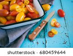 small cherry tomatoes  red and... | Shutterstock . vector #680459644