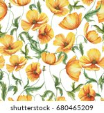 hand drawn watercolor floral... | Shutterstock . vector #680465209