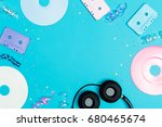music flat lay objects with