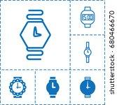 wristwatch icon. set of 6... | Shutterstock .eps vector #680466670