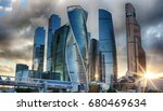 the evening sky in moscow city. ... | Shutterstock . vector #680469634