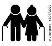 elderly couple with walking... | Shutterstock .eps vector #680472010