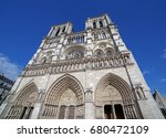 view on front side of notre... | Shutterstock . vector #680472109