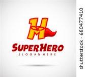 superhero logo template. letter ... | Shutterstock .eps vector #680477410