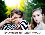 two adorable school age kid... | Shutterstock . vector #680479930