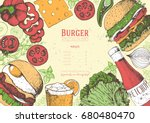 colorful burgers and... | Shutterstock .eps vector #680480470