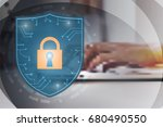 cyber security shield with... | Shutterstock .eps vector #680490550