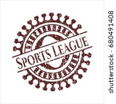 red sports league rubber stamp...   Shutterstock .eps vector #680491408