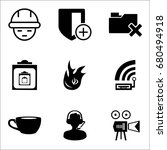 set of 9 miscellaneous icons... | Shutterstock .eps vector #680494918