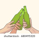 illustration of raised beer... | Shutterstock .eps vector #680495320