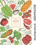 healthy food frame vector...   Shutterstock .eps vector #680496208