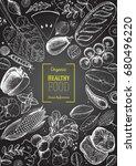 healthy food frame vector... | Shutterstock .eps vector #680496220