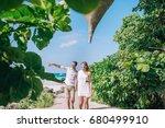 young beautiful couple walking... | Shutterstock . vector #680499910