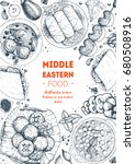 middle eastern cuisine top view ... | Shutterstock .eps vector #680508916