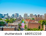 Montreal view from the Jacques-Cartier bridge on gay street Saint-Catherine, Canada
