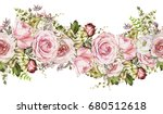 Stock photo isolated seamless border with pink flowers leaves vintage watercolor floral pattern with leaf and 680512618