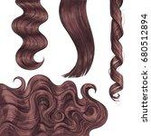 set of shiny long brown  fair... | Shutterstock .eps vector #680512894