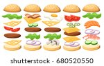 set of delicious sandwich...   Shutterstock .eps vector #680520550