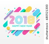 2018 happy new year greeting... | Shutterstock .eps vector #680521300
